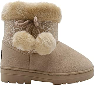 bebe Girls' Big Kid Slip On Mid Calf Warm Microsuede Winter Boots with Printed Shaft, Faux Fur Cuff and Pom Poms