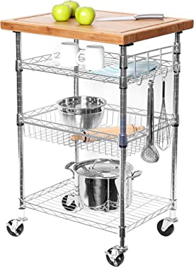 """Seville Classics 3-Tier Solid Top Prep Table Kitchen Island Cart Storage, 24"""" W x 20"""" D x 36.5"""" H, Bamboo/Chrome"""