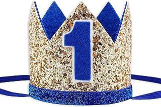 کلاه تولد ، کلاه جشن اول تولد Socub ، سربندهای تاج تولد برای لوازم مهمانی جشن تولد نوزاد پسر ، آبی طلایی