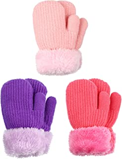 3 Pairs Baby Winter Mitten Gloves Toddler Fleece Thermal Gloves Lined Knit Thick Warm Mittens for Boys Girls