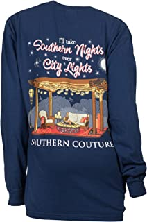 Southern Couture SC Comfort I'll Take Southern Nights Over City Lights on Long Sleeve Classic Fit Adult T-Shirt - True Navy