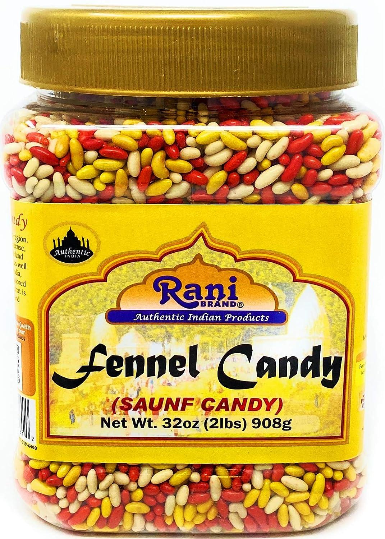 Rani Sugar Coated Fennel Candy 2lbs (32oz) 908g Bulk, PET Jar ~ Indian After Meal Digestive Treat   Vegan
