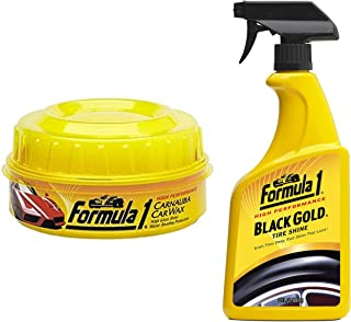 Formula 1 613762 Carnauba Paste Wax (340 g) & Formula 1 615258 Black Gold Tire Shine (680 ml)