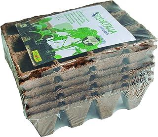 Flower 55044 55044-Semilleros biodegradables, 12 cavidades, 6 Unidades, Marron, 3.5x4.5x3.5 cm