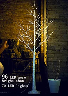 Lighted Birch Tree 6 Ft 96 LED for Christmas Holiday Party Decorations Home Wedding Festival,Indoor and Outdoor Use,Warm White