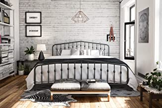 Novogratz Bushwick Metal Bed, King, Grey