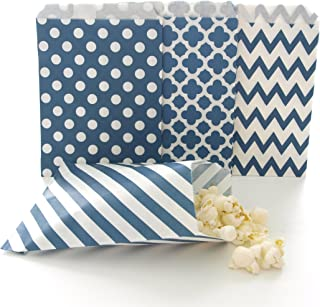 Navy Blue Candy Buffet Bags/Wedding Favor Paper Goodie Bags (100 Pack) - Dark Blue Stripe, Chevron, Spanish Tile & Polka Dot Party Bags