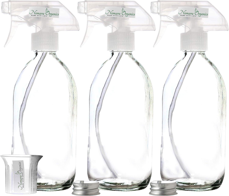 Nomara Organics sin BPA Vaporizador en Botella de Cristal Transparente 3 x 500 mL. Con Gatillo / Recargable / Baño / Cocina Orgánica / Cocina / Productos de limpieza