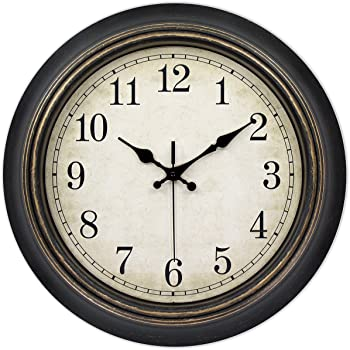 45Min 14 Inches Retro Wall Clock, Silent Non Ticking Battery Operated Movement, Home/Wall Decor, Easy to Read, Decorate Bedroom/Living Room/Office with Arabic/Roman(Arabic)