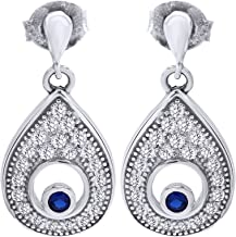 wishrocks Simulated Blue Sapphire & Cz Evil Eye Stud Earring In 925 Sterling Silver