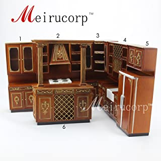Dollhouse 1/12th Scale Miniature furniture hand carved Kitchen cabinet combination