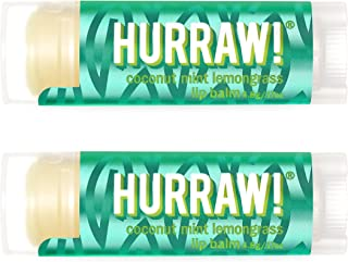 Hurraw! Pitta (Coconut, Mint, Lemongrass) Lip Balm, 2 Pack: Organic, Certified Vegan, Cruelty and Gluten Free. Non-GMO, 10...