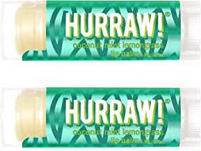 product image for Hurraw! Pitta (Coconut, Mint, Lemongrass) Lip Balm, 2 Pack: Organic, Certified Vegan, Cruelty and Gluten Free. Non-GMO, 100% Natural Ingredients. Bee, Shea, Soy and Palm Free. Made in USA