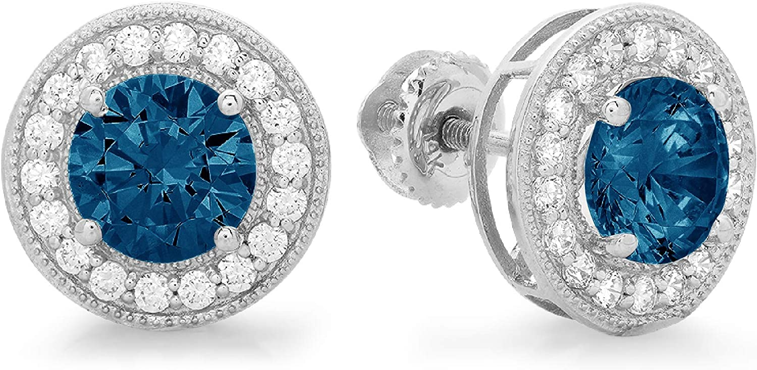 Clara Pucci 3.60 ct Brilliant Round Cut Halo Solitaire VVS1 Flawless Natural London Blue Topaz Gemstone Pair of Solitaire Stud Screw Back Earrings Solid 18K White Gold