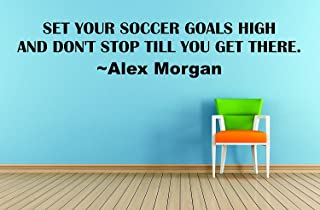 Wall Stickers Soccer Alex Morgan Wall Decal Quote - Wall Art Decor - Vinyl Decals Sticker - Soccer Sport Inspirational Quotes - United States Female International Soccer -Set your soccer goals