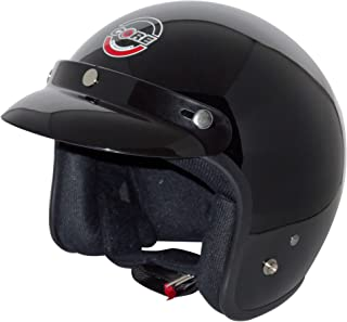 Core Vintage Open Face Helmet (Gloss Black, Medium)