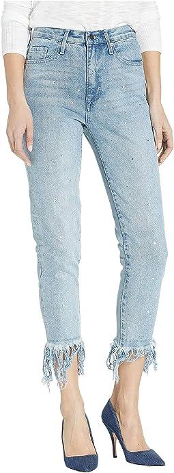 Crystal Fringe Hem Girlfriend Jeans