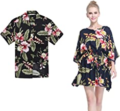 Couple Matching Hawaiian Luau Aloha Shirt Poncho Dress in Rafelsia Patterns 2 Colors