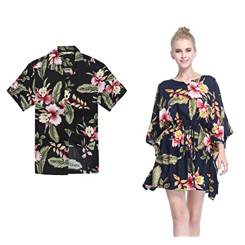 5ec32071fa187 Couple Matching Hawaiian Luau Aloha Shirt Poncho Dress in Rafelsia Patterns  2 Colors