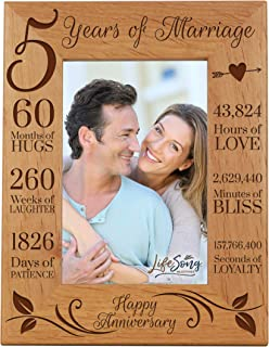 LifeSong Milestones 5th Anniversary Picture Frame 5 Years of Marriage - Five Year Wedding Keepsake Gift for Parents Husband Wife him her Holds 5x7 Photo - Happy Anniversary (7.5x9.5)
