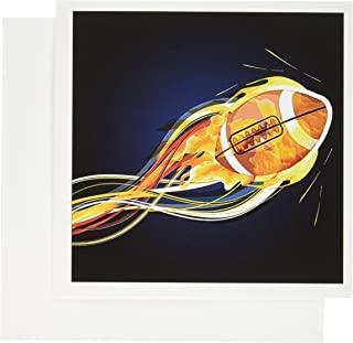 3dRose A Shooting Football With Flames - Greeting Cards, 6 x 6 inches, set of 12 (gc_111587_2)