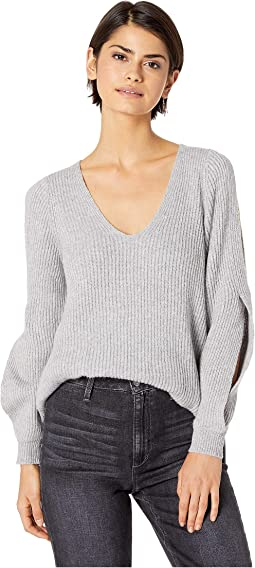 Cold Shoulder V-Neck Sweater w/ Twist Sleeves