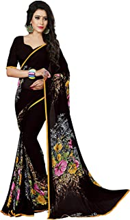 Women's Faux Georgette Floral Print Saree 6.30 m With Blouse Piece by Kalaa Varsha