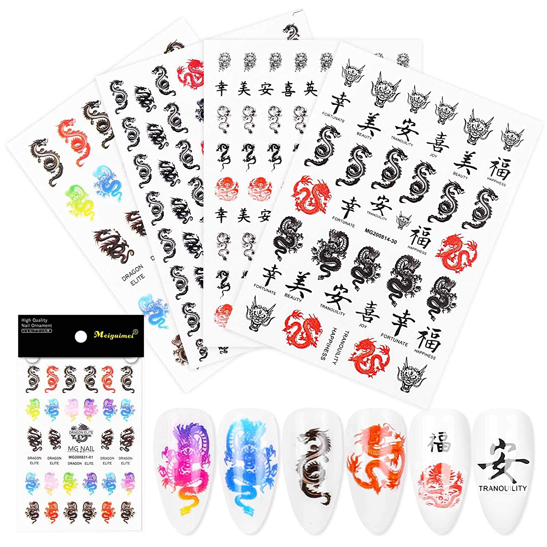 Brand new 4pcs Beautiful Black Chinese Style Nail 3D Art Max 49% OFF Stickers Dragon