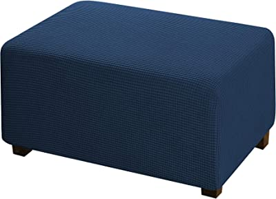 Medium Navy Ottoman Slipcover Jacquard Polyester Stretch Fabric Rectangle Folding Storage Stool Ottoman Cover Furniture Protector for Living Room
