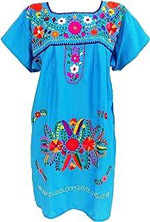 فساتين مكسيكية للنساء مطرزة بالهبل التقليدي حفلة عيد ميلاد مكسيكية أزرق سماوي