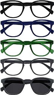 Opulize Pop 5 Stuks Leesbril Met Zon Lezer Retro Ronde Zwart Blauw Groen Grijs Mannen Vrouwen RRRRS2-13677 +1,50