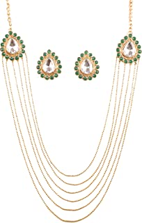 Touchstone New Bollywood Replica Deepika Padukone Wedding Indian Mughal Kundan Look Designer Jewelry Creation Grand Long B...