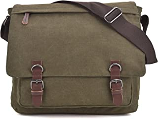 """Vintage Canvas Messenger Shoulder Bag Causal Crossbody Bookbag Computer Laptop Bag Business Briefcase for 15"""" Laptop"""