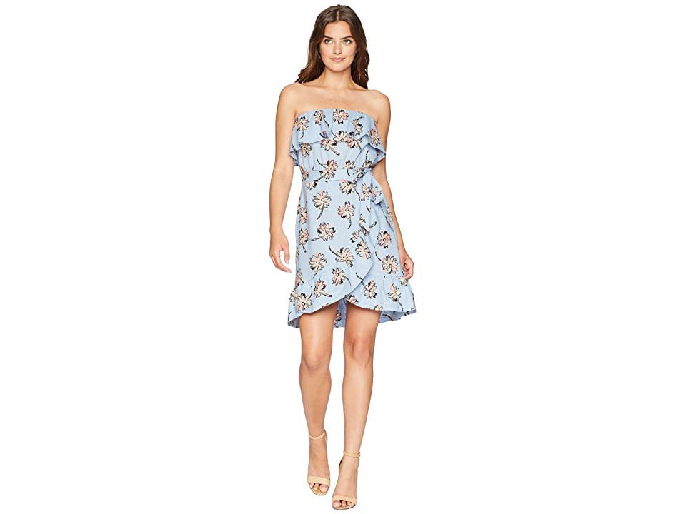 J.O.A. Strapless Ruffle Dress (Sky/Taupe Floral) Women