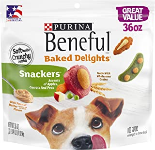Purina Beneful Made in USA Facilities Dog Training Treats, Baked Delights Snackers - 36 oz. Pouch