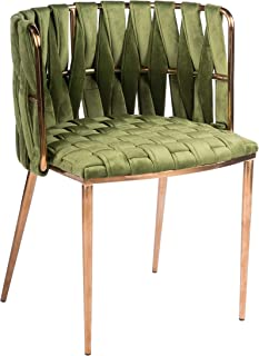 Statements by J 1538DC-GREEN Milano Dining Chair, Green, 29.5 Inch Tall, Gold