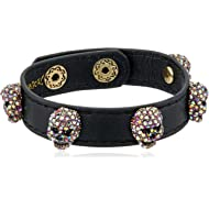 Women's Pink and Gold Black Leather Bracelet