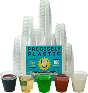 100 Shot Glasses Premium 2oz Clear Plastic Disposable Cups, Perfect Container for Jello Shots, Condiments, Tasting, Sauce, Dipping, Samples