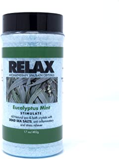Eucalyptus Mint Luxury Aromatherapy Bath Salts, 17 Ounce Bottle, Natural Mineral Crystals Infused with Vitamins for Soaking Aches, Pains and Stress Relief, Exfoliate Skin, Safe for Spa, and Bath.