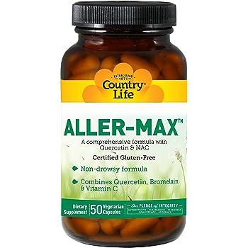 Country Life Aller-Max - 50 Vegetarian Capsules   Non-drowsy Formula   Combines Quercetin, Bromelain & Vitamin C