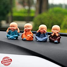 TIED RIBBONS Set of 4 Miniature Decorative Buddha Monk Figurines Showpiece for Dashboard Car Interior Decoration (Multicolor)
