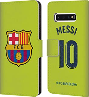 Official FC Barcelona Lionel Messi 2018/19 Players Away Kit Group 1 Leather Book Wallet Case Cover Compatible for Samsung Galaxy S10
