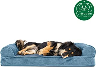 Furhaven Pet Dog Bed   Orthopedic Faux Fur & Velvet Traditional Sofa-Style Living Room Couch Pet Bed w/ Removable Cover for Dogs & Cats, Harbor Blue, Medium