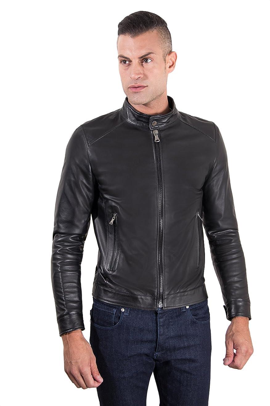 Men's Italian Leather Jacket Black Biker