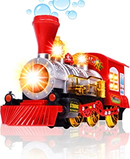 CifToys Bubble Blowing Toy Train - Battery Powered Steam Bubbles Locomotive Engine Car- Colorful Lights & Fun Sounds - Constant Motion & Automatic Change of Direction – 3 and Up