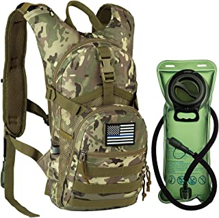 RUPUMPACK Tactical Molle Hydration Backpack with 2L BPA Free Water Bladder Keeps Water Cool Up to 4 Hours, Lightweight Military Daypack for Cycling, Hiking, Running, Climbing, Hunting, Biking