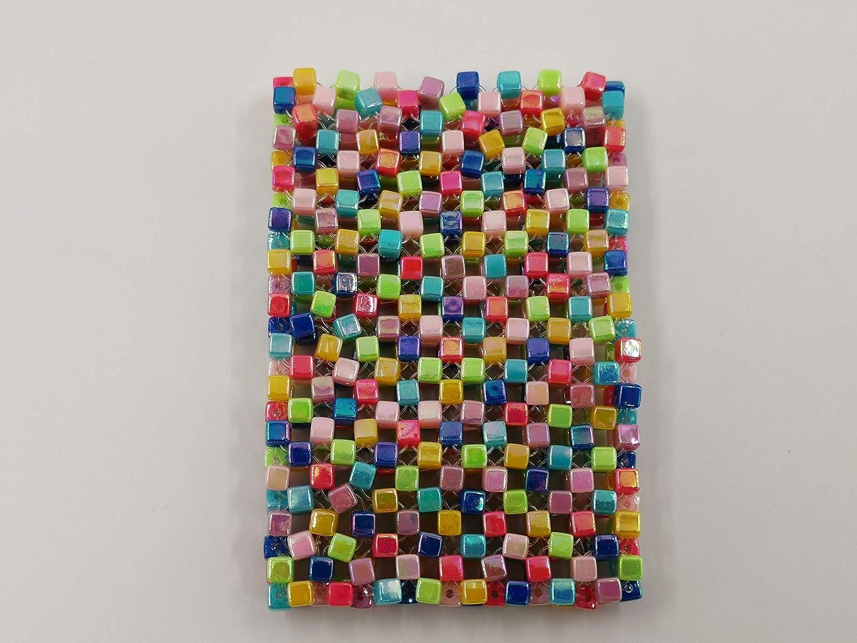 Handmade Beaded Cardholder - Genuine Multi LMA Seasonal Wrap Introduction Acrylic Beads 21 Colors