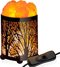 GloBrite Natural Himalayan Salt Lamp, Air Purifying Crystal Salt Rock Lamp Night Light with Forest Design Metal Basket, Switch