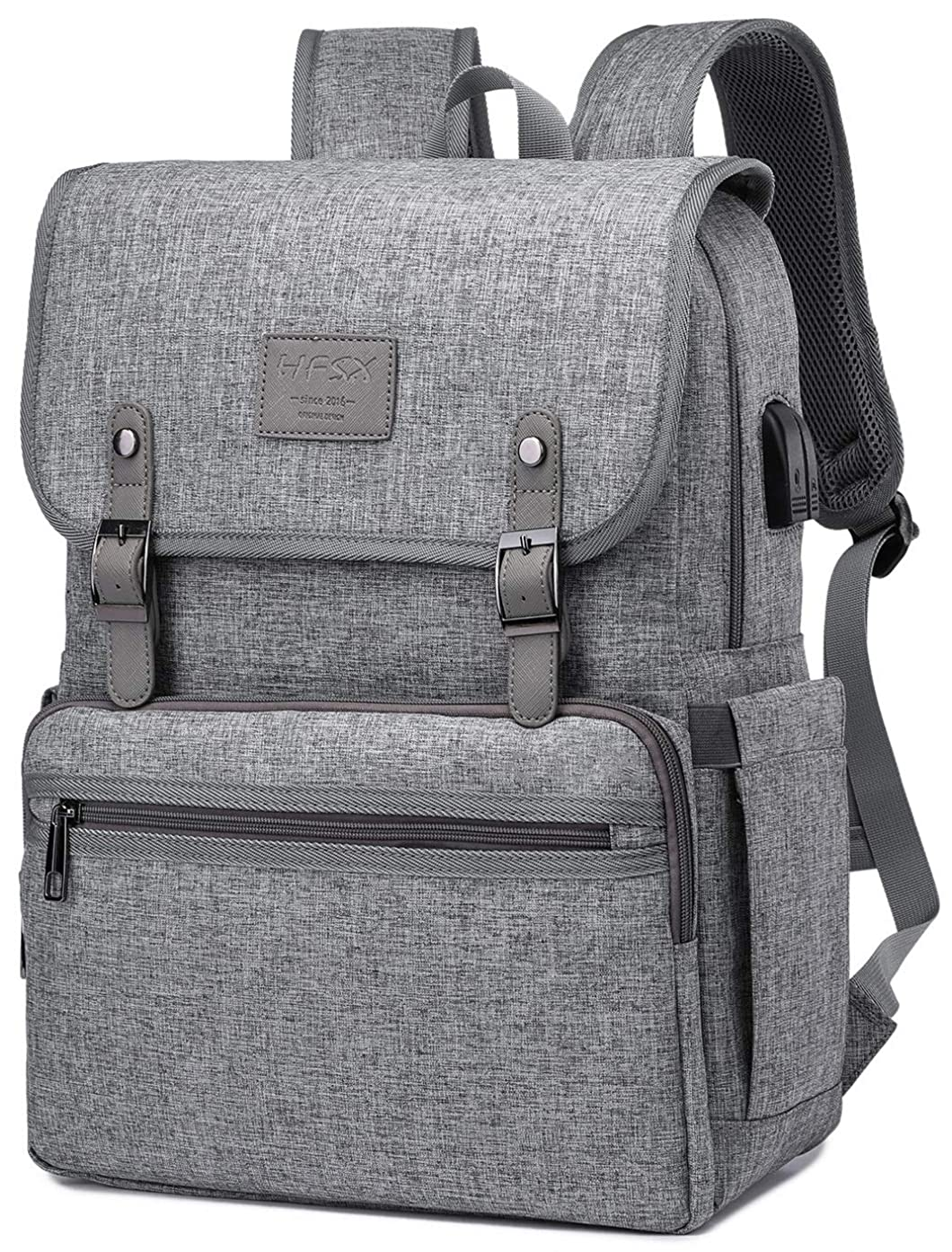 Anti Theft Laptop Backpack Men Women Business Travel Computer Backpack School College Bookbag Stylish Water Resistant Vintage Backpack with USB Port Fashion Grey Fits 15.6 Inch Laptop Grey