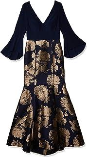 Xscape Women's Deep-v Long Sleeve Dress